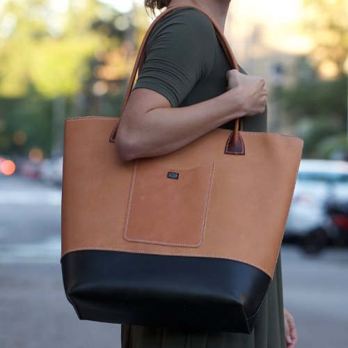 Large Hand-stitched Leather Tote
