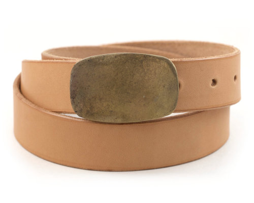 Vegetable Tanned Leather Belt w/ Bronze Buckle